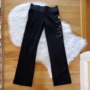 Victoria's Secret Pink black velour sequin pant XS